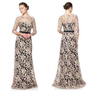 NEW Tadashi Shoji Gold Black Illusion Lace Gown